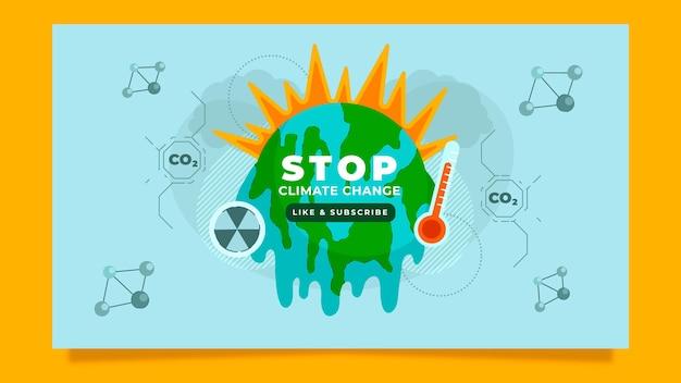 Miniatura di youtube sul cambiamento climatico piatto disegnato a mano