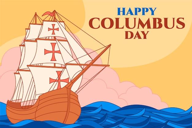 Hand drawn flat columbus day background