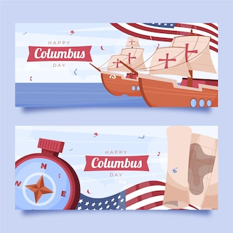 Hand drawn flat columbus day horizontal banners set