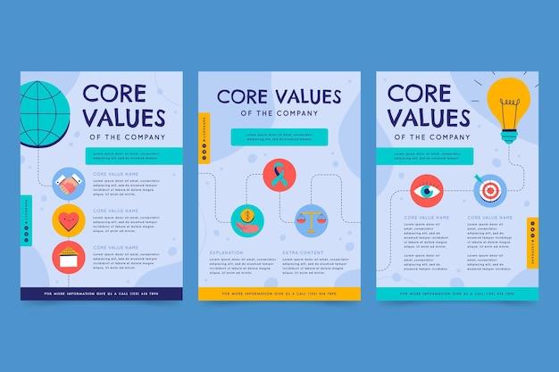 Набор рисованной плоских листовок с основными ценностями