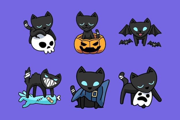 Collezione di set di gatto nero simpatico cartone animato piatto disegnato a mano