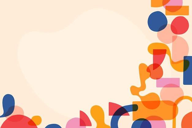 Hand drawn flat design abstract shapes background
