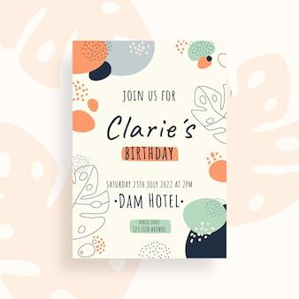 Hand drawn flat design abstract shapes birthday invitation