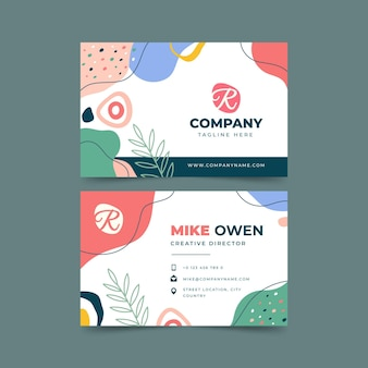 Hand drawn flat designabstract shapes business cards