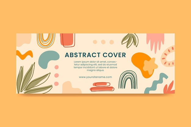 Hand drawn flat design abstract shapesfacebook cover