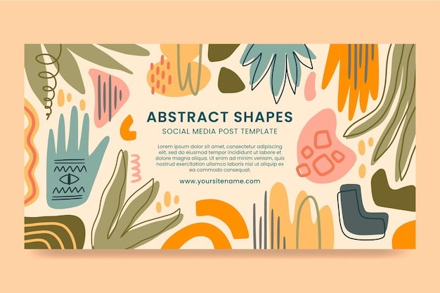 Hand drawn flat design abstract shapesfacebook post