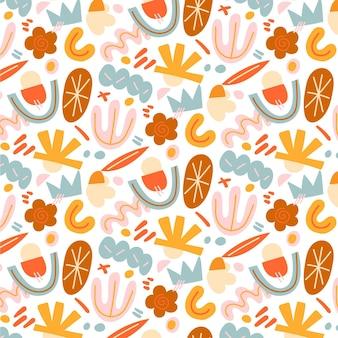 손으로 그린된 평면 디자인 추상 모양 패턴