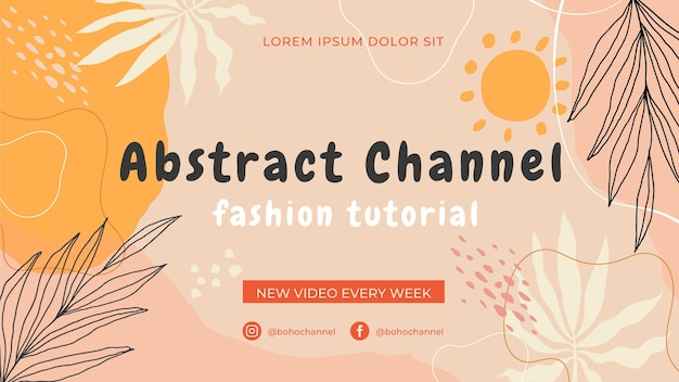 Hand drawn flat design abstract shapes youtube channel art