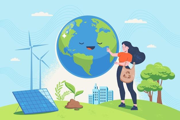 Ручной обращается плоский дизайн концепции изменения климата