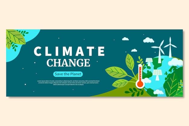 Нарисованная рукой плоская обложка facebook изменения климата
