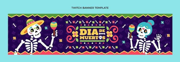 Banner di contrazione dia de muertos design piatto disegnato a mano
