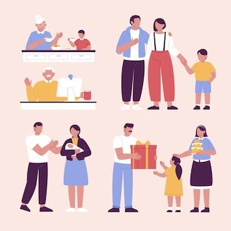 手描きのフラットデザインの家族のシーン