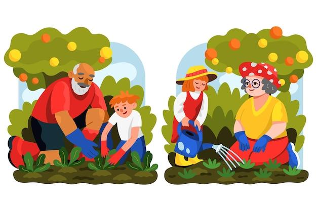 Scene familiari di design piatto disegnate a mano