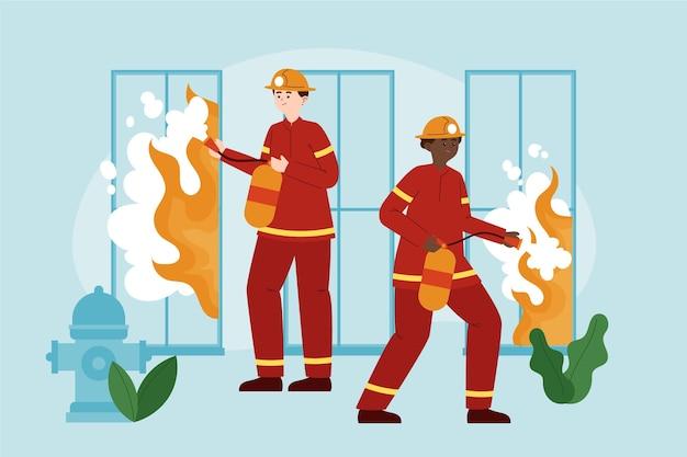 火を消す手描きのフラットデザインの消防士