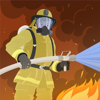 Hand drawn flat design firefighters putting out a fire