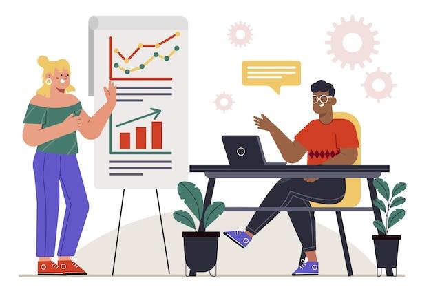 Design piatto disegnato a mano che raccoglie dati nel concetto di business