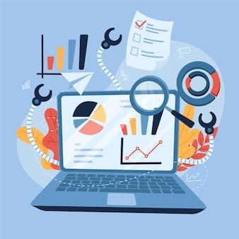ビジネスコンセプトのデータを収集する手描きフラットデザイン