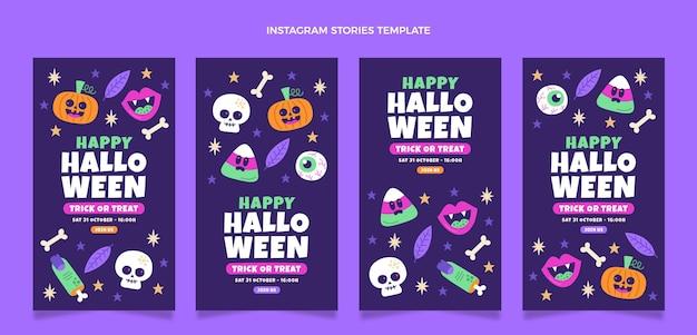 Storie di halloween ig design piatto disegnato a mano