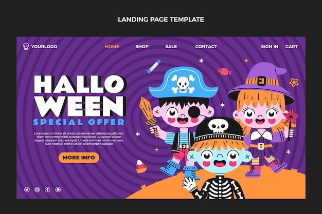 Ручной обращается плоский дизайн целевой страницы хэллоуина