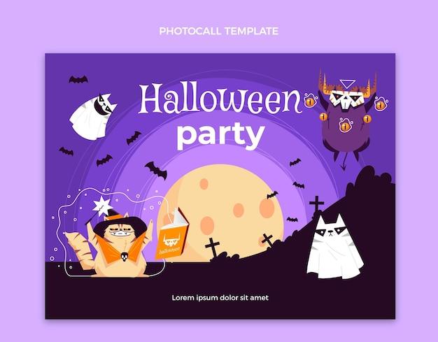 Photocall di halloween design piatto disegnato a mano