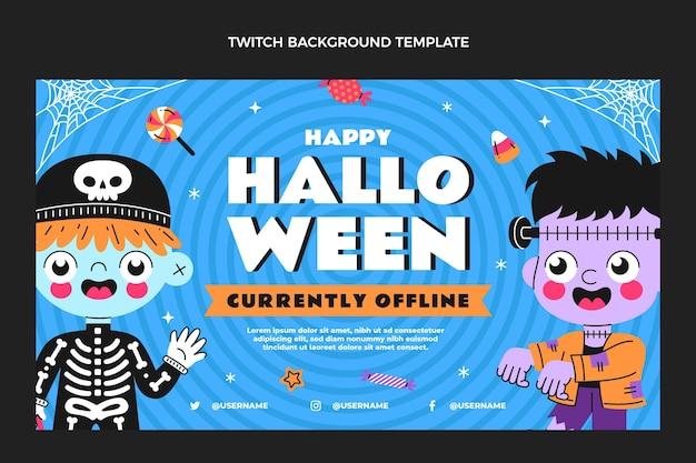 Hand drawn flat design halloweentwitch background
