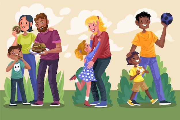 家族のシーンの手描きフラットデザイン
