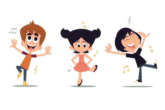 踊る人々の手描きフラットデザイン