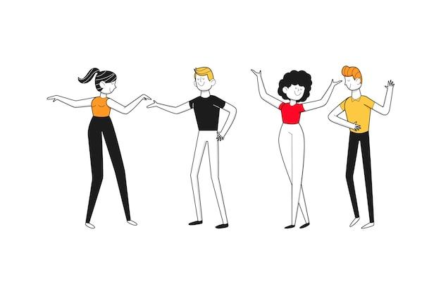 踊る人々の手描きのフラットなデザイン