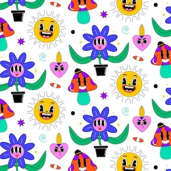 최신 유행 만화 패턴의 손으로 그린 평면 디자인