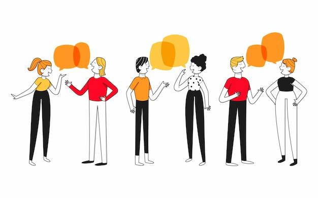 Design piatto disegnato a mano di persone che parlano