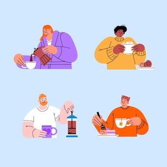 Design piatto disegnato a mano di persone con bevande calde