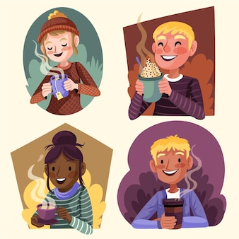 Hand drawn flat design people with hot drinks