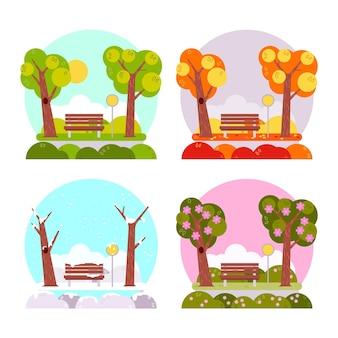 Collezione di stagioni di design piatto disegnato a mano