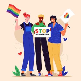 Ручной обращается плоский дизайн остановить концепцию трансфобии