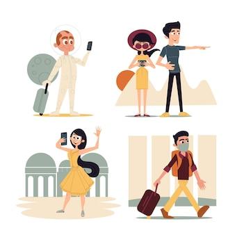 手描きのフラットなデザインの観光客のイラスト