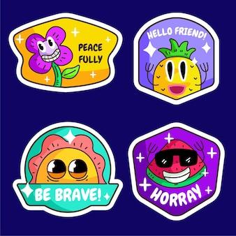 Hand drawn flat design trendy cartoon  badges and labels