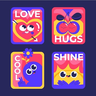 Design piatto disegnato a mano di distintivi ed etichette alla moda dei cartoni animati