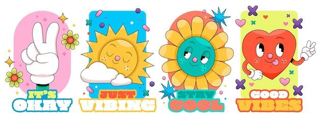 Hand drawn flat design trendy cartoonbadges and labels