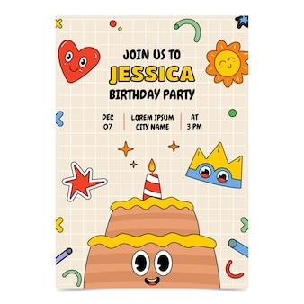 Hand drawn flat design trendy cartoon birthday invitation