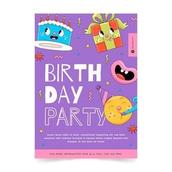 手描きのフラットなデザインのトレンディな漫画の誕生日の招待状