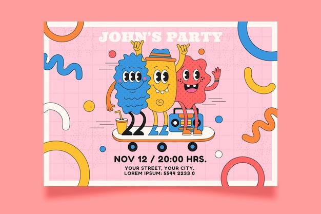 Invito di compleanno del fumetto alla moda design piatto disegnato a mano