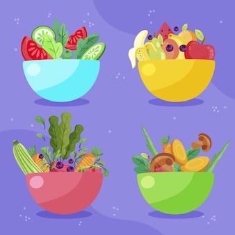 Hand drawn flat design vegetarian food collection
