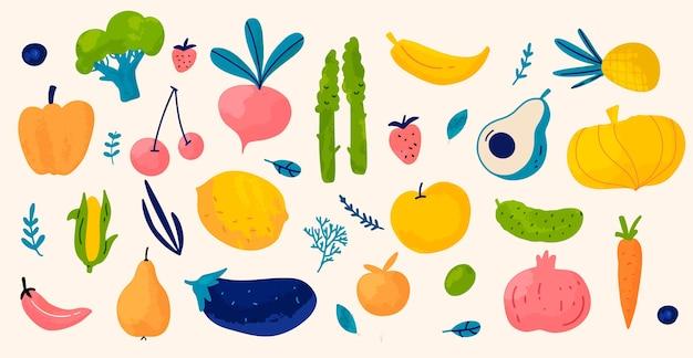 손으로 그린 평면 디자인 채식 음식 컬렉션