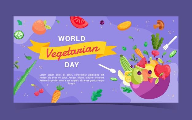 Post di facebook di cibo vegetariano design piatto disegnato a mano