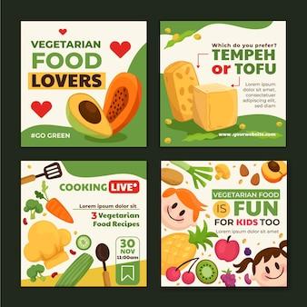 Post di instagram di cibo vegetariano design piatto disegnato a mano