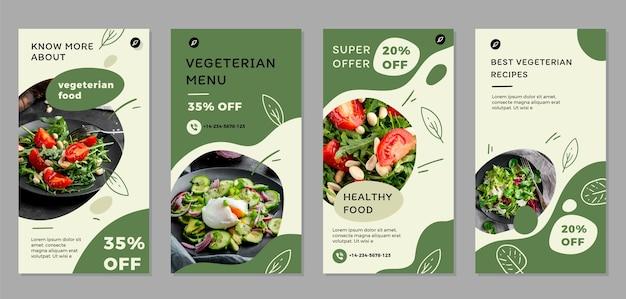 Ручной обращается плоский дизайн вегетарианской еды instagram рассказы