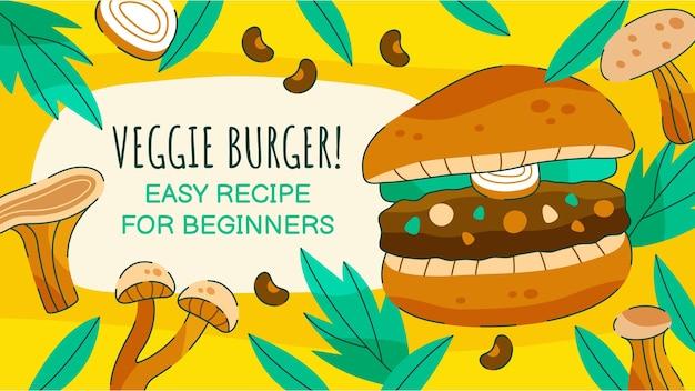 Hand drawn flat design  vegetarian food youtube thumbnail