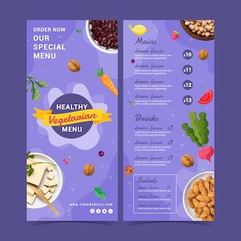 Hand drawn flat design vegetarian menu