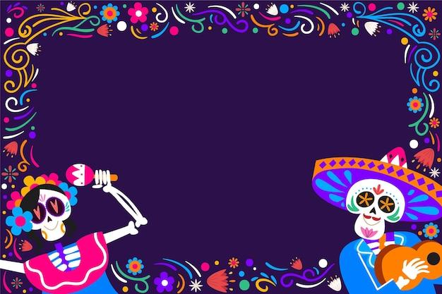 手描きのフラットdiademuertos背景