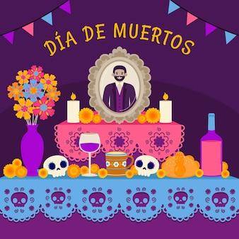 Нарисованная рукой плоская иллюстрация семейного домашнего алтаря dia de muertos